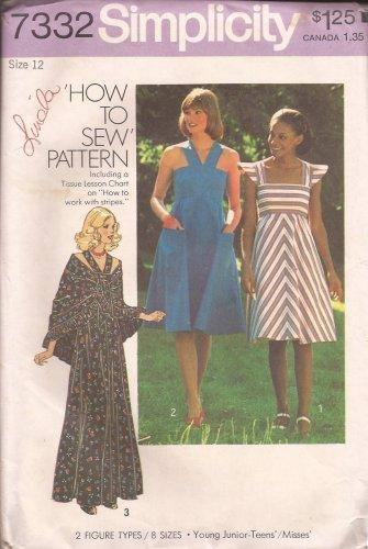 Simplicity 7332 (1976) Vintage Junior Teens Misses Dress Shawl Pattern Size 12 UNCUT
