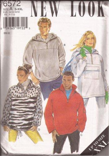 New Look 6572 Unisex Mens Womens Hoodie Jacket Pattern Size S M L XL XXL UNCUT