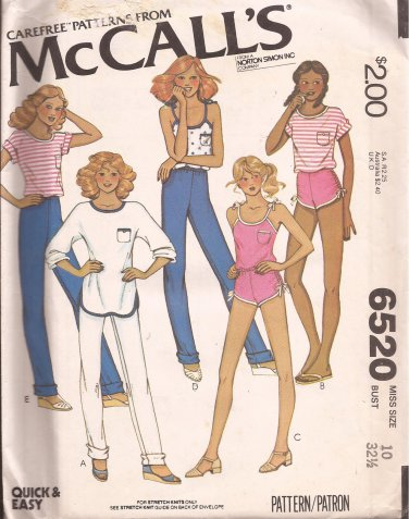 McCalls 6520 (1979) Vintage Tops Pants Shorts Pattern Size 10 UNCUT