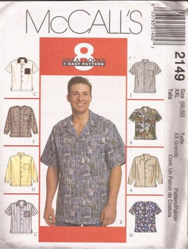 McCalls 2149 (1999) Mens Shirts Sleeve Collar Variations Pattern Size XXL 50 52 UNCUT