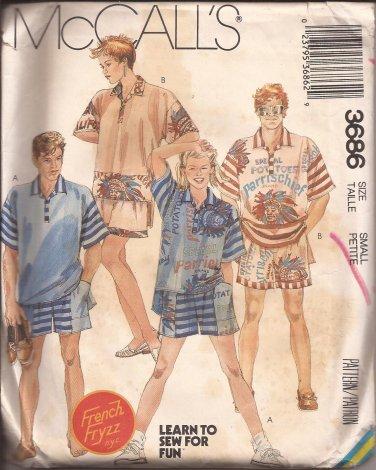 McCalls 3686 (1988) Misses Mens Teens Top Shorts Pattern Size Small UNCUT