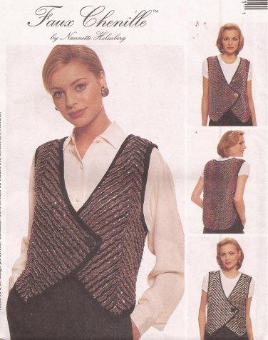 McCalls 8866 (1997) Designer Faux Chenille Vest Pattern Size S M L XL UNCUT