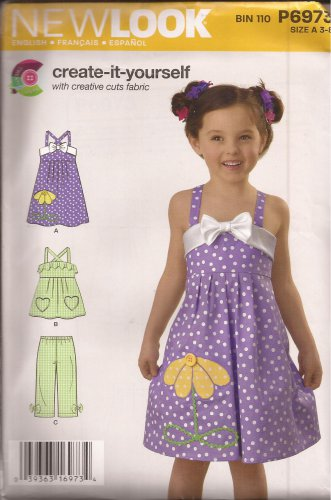 New Look P6973 (2011) Girls Childs Dress Pull-on Pants Applique Pattern Size 3 4 5 6 7 8 UNCUT