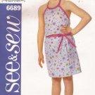 Butterick 6689 (2000) Girls Childs Halter Top Mock Wrap Skirt Pattern Size 6 7 8 UNCUT