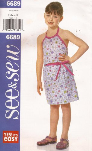 Butterick 6689 (2000) Girls Childs Halter Top Mock Wrap Skirt Pattern Size 6 7 8 UNCUT