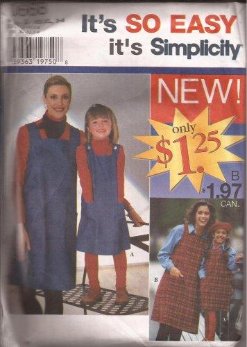 Simplicity 0668 (1996) Mother Daughter Girls Jumper Pattern Size XS S M L XL; 3 4 5 6 7 8 UNCUT