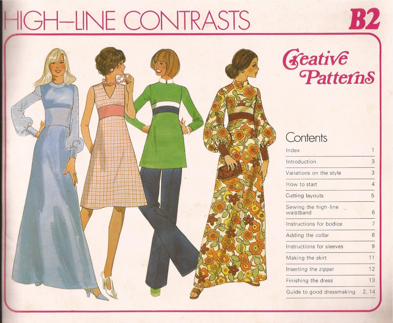 Creative Patterns B2 (1976) Vintage Long Dress Contrast Band Full Sleeves Wide Cuff Pattern UNCUT