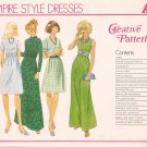 Creative Patterns A3 (1975) Vintage Empire Cowl Collar Maxi Dress Pattern UNCUT