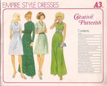 Creative Patterns A3 (1975) Vintage Empire Cowl Collar Maxi Dress Pattern UNCUT