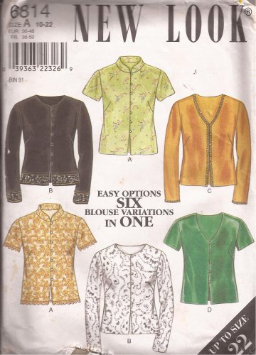 New Look 6814 Misses Womens Top Shirt Blouse Pattern UNCUT Size 10 12 14 16 18 20 22
