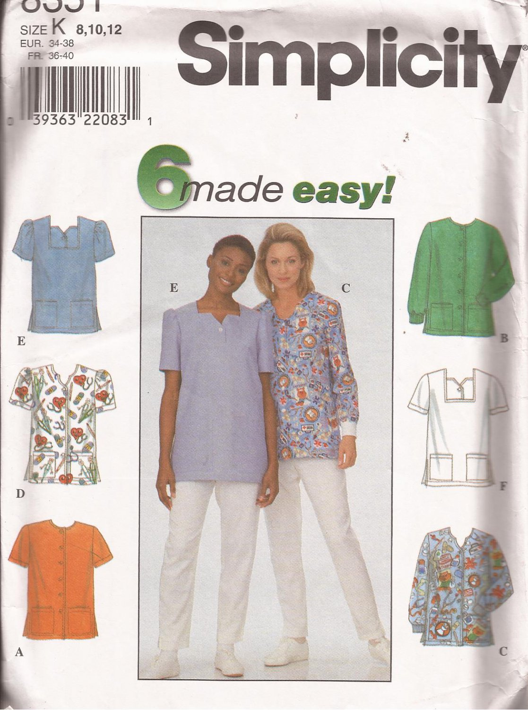 Simplicity 8351 (1998) Misses Womens Uniform Scrub Top Patch Pockets Pattern Size 8 10 12 UNCUT