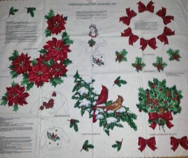 Christmas Wreath Bows Poinsetta Red Birds Fabric Applique