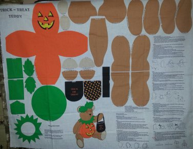 Trick or Treat Halloween Teddy Bear Cut and Sew Fabric Doll