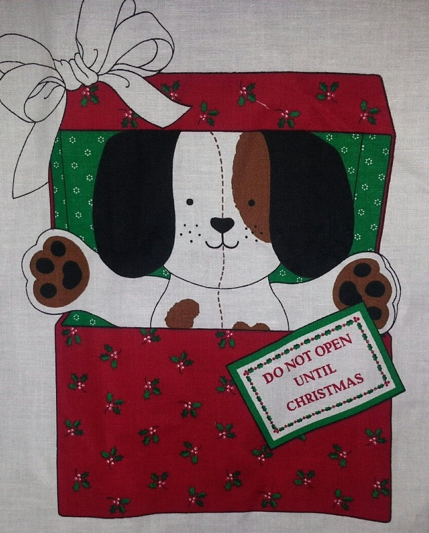 Christmas Puppy Box Fabric Cut and Sew Panel Doll Toy