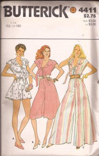 Butterick 4411 RARE Vintage Culotte Dress Jumper Wide Leg Pattern Size 12 14 16 UNCUT
