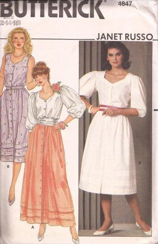 Butterick 4847 Puff Sleeve Sleeveless Blouse Skirt Pattern Size 12 14 16 UNCUT