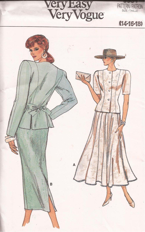 Vogue 9931 (1987) Princess Seam Top Flared Straight Skirt Pattern Size 14 16 18 UNCUT