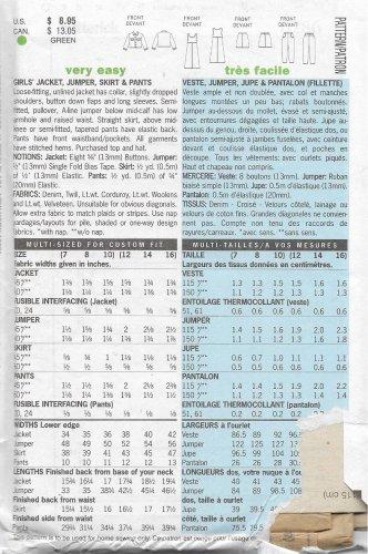 Butterick 6286 (2001) Girls Jean Jackt Jumper Skirt Pants Pattern Size 12 14 16 UNCUT