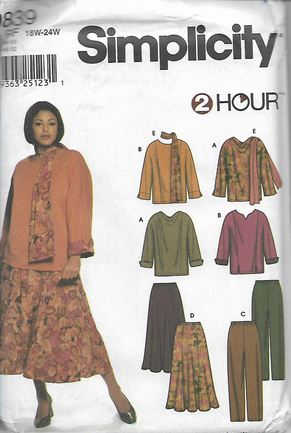 Simplicity 9839 (2001) Women Plus Size Tops Pants Skirt Scarf Pattern Size 18W 20W 22W 24W UNCUT
