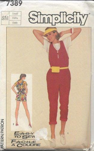 Simplicity 7389 (1986) Vintage Misses Short Long Jumpsuit Top Pattern Size Small 10 12 UNCUT