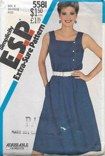 Simplicity 5581 Vintage Misses Pullover Asymmetrical Dress Sundress Pattern Size 8 10 12 CUT to 12