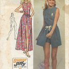Simplicity 9973 (1972) Vintage Super Jiffy Easy Wrap Skirt Short Jumpsuit Pattern Size 10 PART CUT