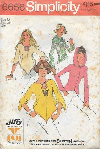 Simplicity 6656 (1974) Vintage Juniors Misses Boho Hippie Top Kimono Hoodie Pattern Size 12 CUT