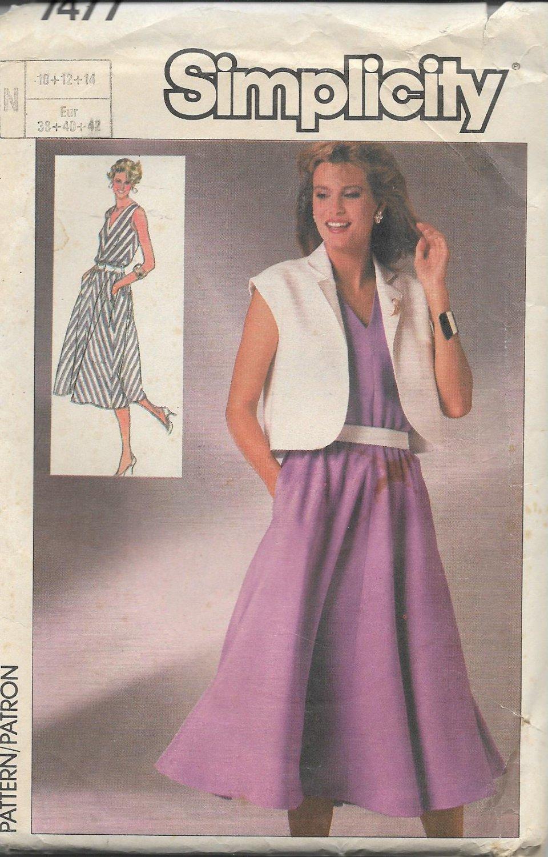 Simplicity 7477 (1986) Sleeveless V Neck Bias Dress Self Lined Jacket Pattern Size 10 12 14 UNCUT
