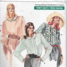 Vogue 7015 (1987) Very Easy Petite Button Back Blouse Pattern Size 8 10 12 CUT to 12