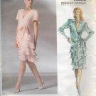 Vogue 1891 (1987) Wrap Drop Waist Flounce Dress Pattern Size 12 UNCUT