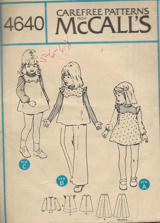 McCalls 4640 (1975) Vintage Childs Girls Jumper Top Blouse Pants Pattern Size 5 6 6X CUT