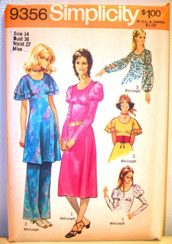 Simplicity 9356 (1971) Vintage Dress Pants Pattern Size 14 UNCUT