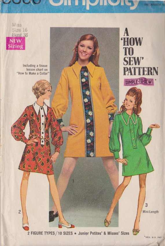 Simplicity 8366 (1971) Vintage Dress Pattern Size 16 CUT