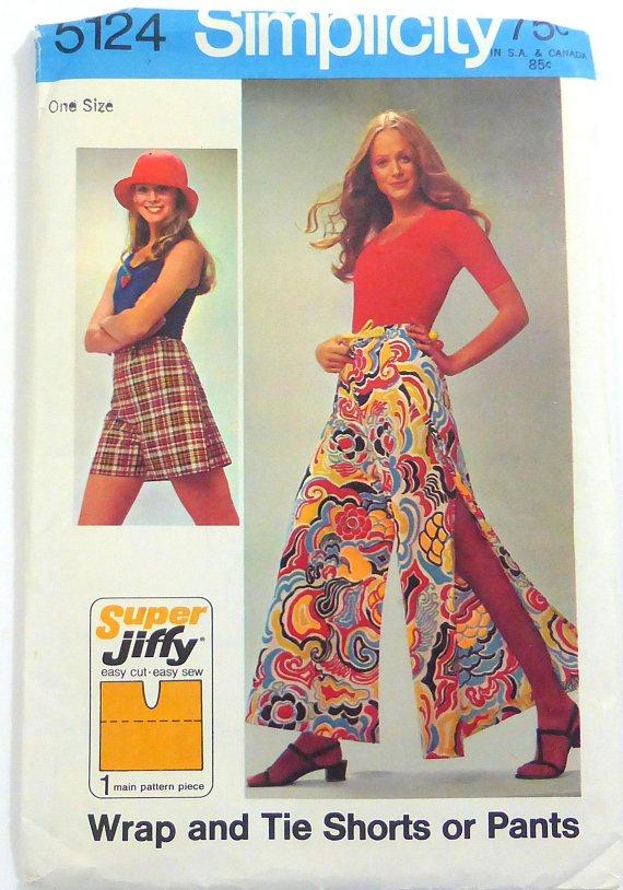 Simplicity 5124 (1972) Vintage One Size Wrap Tie Pants Shorts Pattern UNCUT