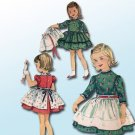 Simplicity Primer 3250 (1960s) Vintage Child Girls Dress Overskirt Apron Pattern Size 2 UNCUT