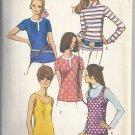 Simplicity 8834 (1970) Vintage Blouse Tank Top Turtleneck Pattern Size 12 UNCUT