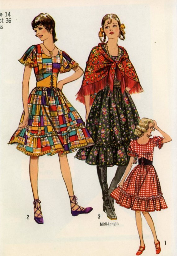 Simplicity 9699 (1971) Vintage Country Square Dance Gypsy Dress Belt Shawl Pattern Size 14 UNCUT