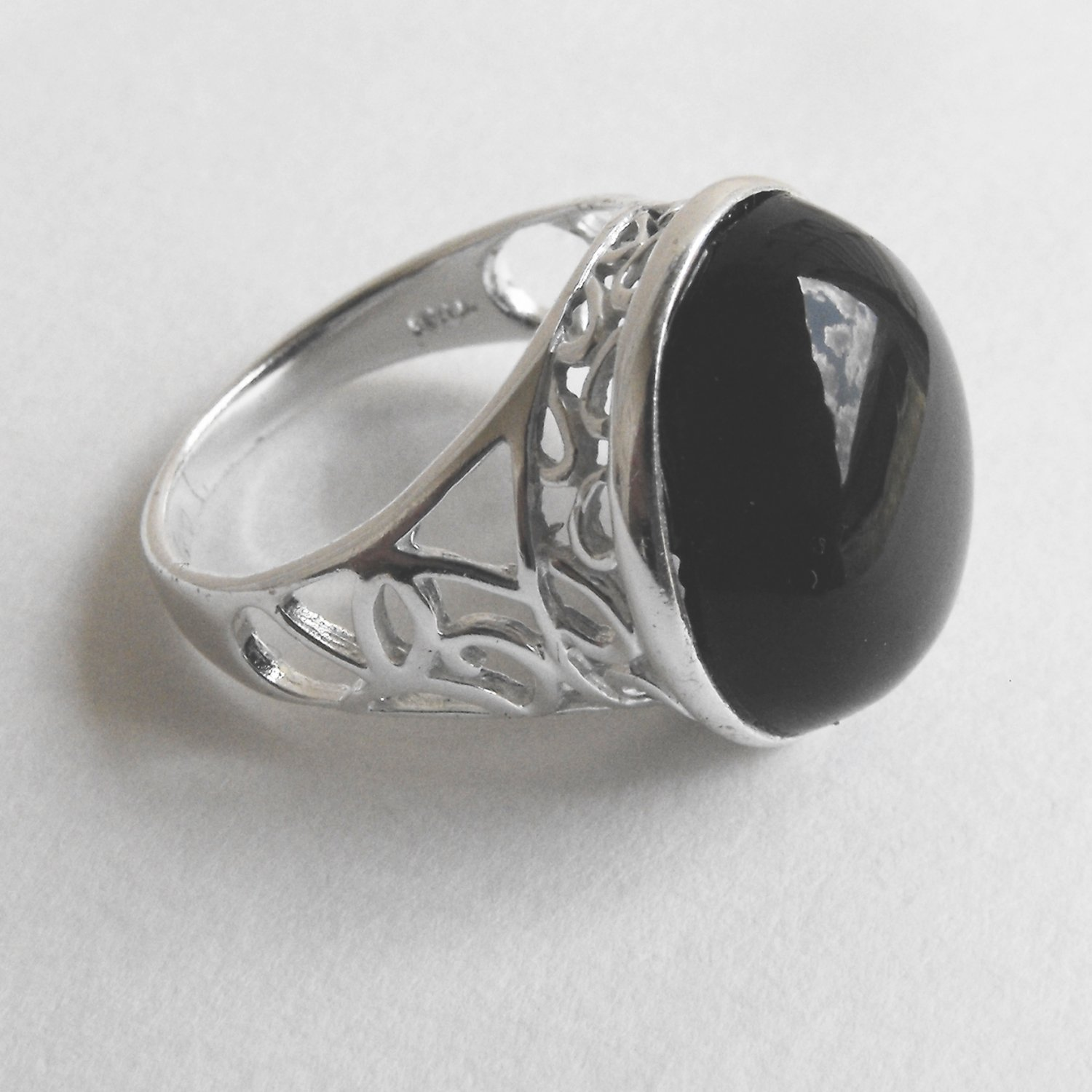 Sterling Silver And Onyx Ring (sz.8)