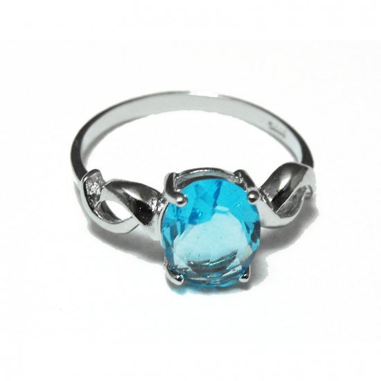 Sterling Silver And Topaz Ring (sz.7½)