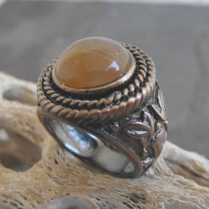 Copper And Agate Stone Ring (sz.8)