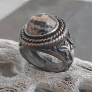 Copper And Rhodonite Stone Ring (sz.8½)