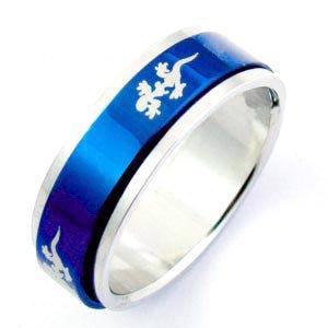 Blue Steel Geko Spinner Ring (sz.7)