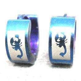 Stainless Steel Blue Scorpion Stud Hoop Earrings