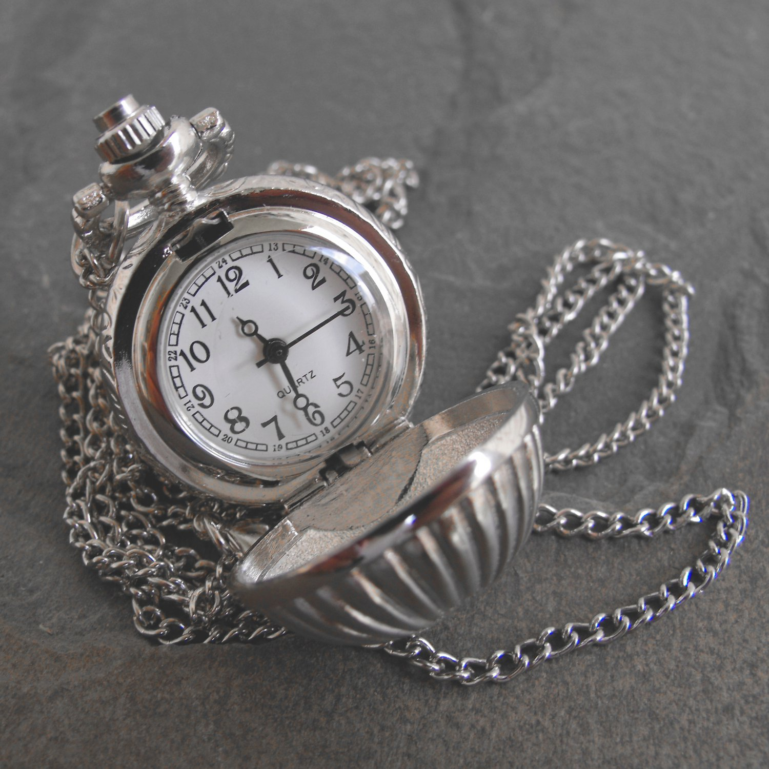 Stainless Steel Sphere Pendant Timepiece With Chain