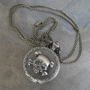 Skull And Bones Pocket Watch With Chain