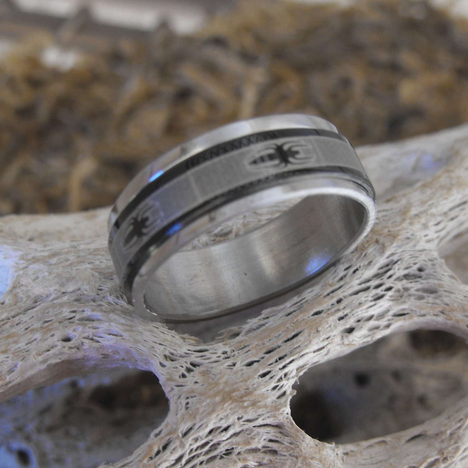 Stainless Steel Spider Spinner Ring (sz.8½)