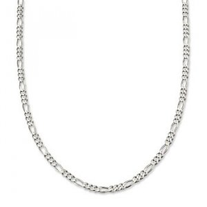 """Figaro Italian Sterling Silver Necklace (2mm) 22"""""""