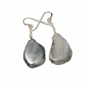 Light Blue Agate And Sterling Silver Earrings