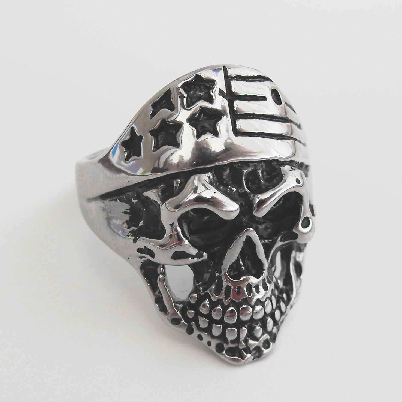 Stainless Steel American Flag Skull Ring (sz.12,13)