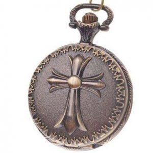 Goth Style Cross Pocket Watch With Chain